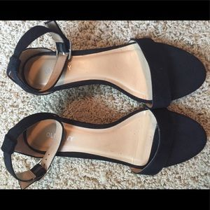 Old Navy Shoes - Black velvet wedge sandal w ankle straps. Size 8.